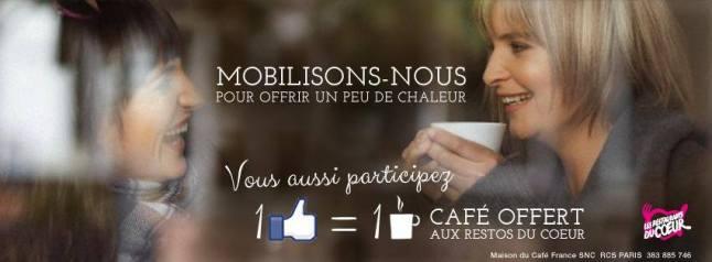 1 clic = 1 café offert aux Restos du Coeur