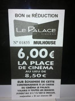 Contremarque valable au Cinéma Le Palace de Mulhouse