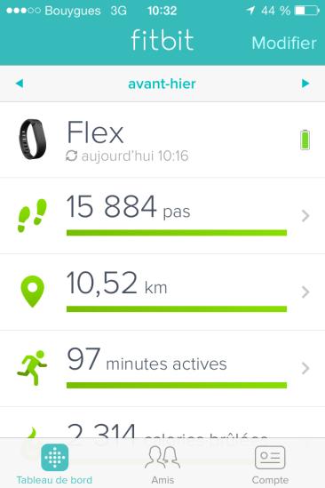 Bracelet connecté FitBit Flex : le tableau de bord mobile